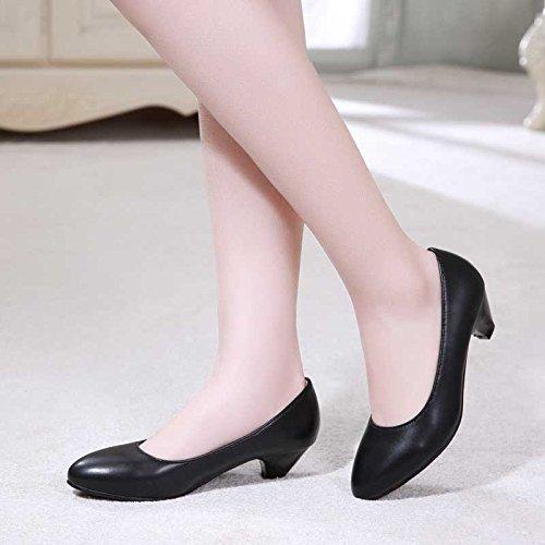 GAOLIM Fondo De Femeninos De Blando Trabajo Zapatos A 3Cm Indolora Solo Trabajo Alto Negro Punta Zapatos Del Blando De Baja De Luz Calzado AArRwgxq6