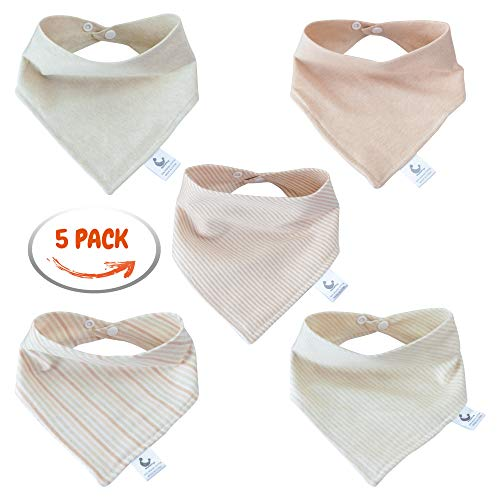 5-Pack Stylish Baby Bandana Drool Bibs 2 Ply 100% Naturall Colored Organic Cotton - Cute -Ultra Soft and Absorbent Hypoallergenic for Drooling and Teething Babies Boys and Girls -
