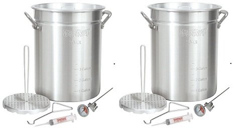 Bayou Classic 3025 30-Quart Aluminum Turkey Fryer Pot with Accessories (2-Pack)