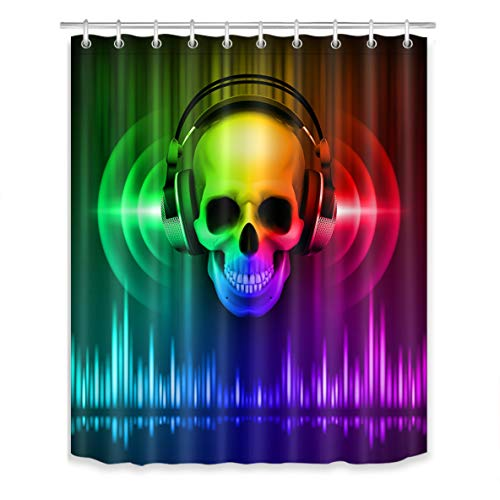 (LB Disco Skull Shower Curtain Set Skeleton with Headphone Musical Halloween Party 80s 90s Bathroom Curtain with Hooks,60x72 inch Waterproof Polyester Fabric Mildew)