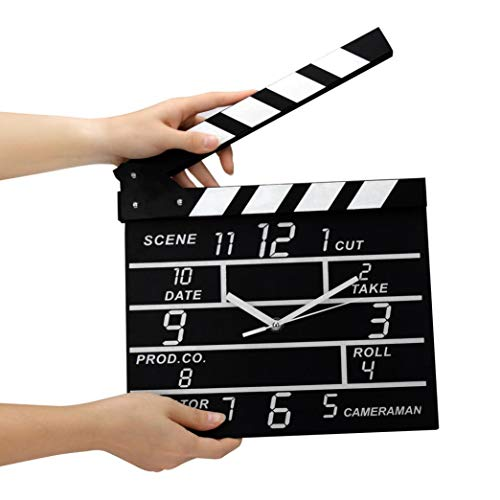 SUNBIBEWall Clock,Cinema Movie Slate Analog Wall Clock Black Clapper Film Home Clock Decor Wall Art