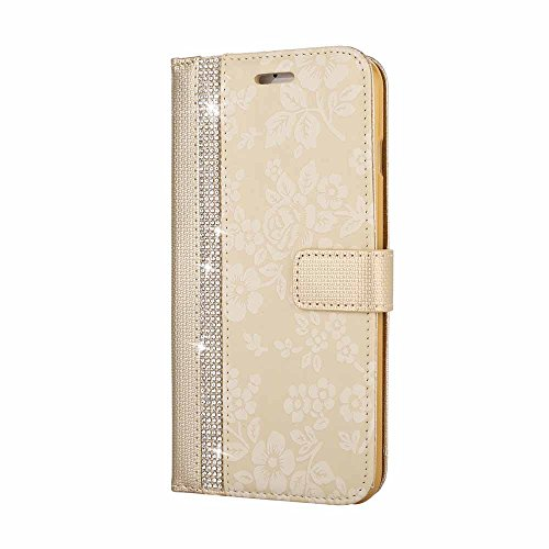 Hülle für iPhone 8 Plus / iPhone 7 Plus, Billionn Glitzer Diamant Blume Muster PU Leder Flip Hülle Tasche Schutzhülle mit Standfunktion für 5.5 Zoll Apple iPhone 8 Plus / iPhone 7 Plus Rosa Gold