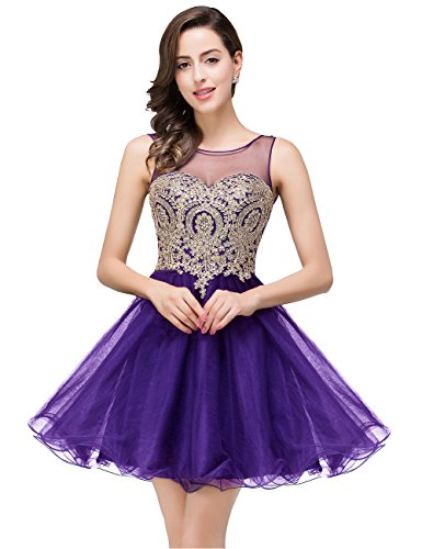 om Dresses 2017 Plus Size Short Cocktail Party Gowns,362 purple,16 ()