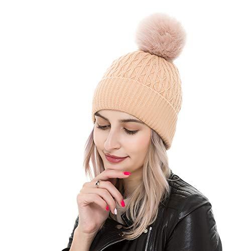 REEMONDE Womens Winter Beanie Hat with Faux Fur Pompom Warm Soft Hats