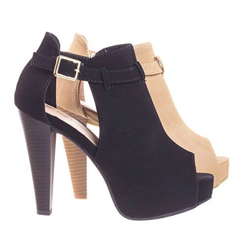 Table45 Black Stacked Block Heel Ankle Boots w Peep Toe, Side Cutout & Hidden Platform - 4.5 Inch Stacked Platform