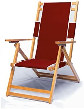 Heavy Duty Wood Beach Chair No Foot Rest – Burgundy