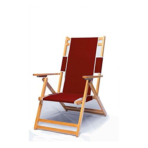 Heavy Duty Wood Beach Chair No Foot Rest - Burgundy