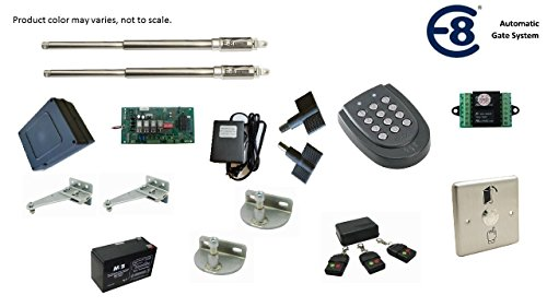 Keypad Gate (E8 400MM Stainless Steel Automatic Dual Swing Gate Opener for Gates with Wired Keypad and Exit Push Button Package)