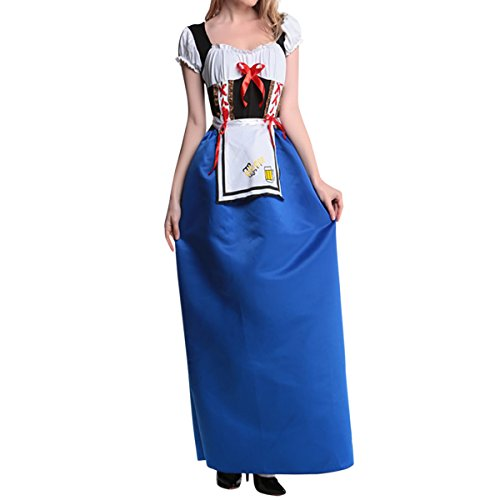 (Quesera Women's Dirndl Dress Long Blue Oktoberfest Serving Wench Halloween)