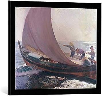 Kunst für Alle Cuadro con Marco: Joaquin Sorolla y Bastida A Gust of Wind - Impresión artística Decorativa con Marco, 60x50 cm, Negro/Canto Gris