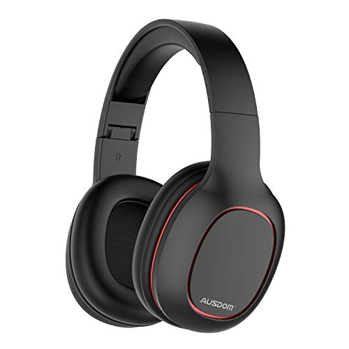 AUSDOM M09 Bluetooth Headphones Over Ear, Lightweight Wireless Headset with Microphone, Foldable and Adjustable Band, Soft Earpads, Volume Control, HD Sound Quality for Travel Work Cellphone, Black