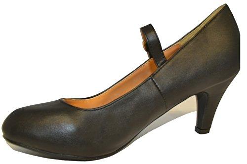 HapHop Women's Mary Jane Mid Heel Almond Toe Pump Shoes, Black PU, 8 M US Almond Toe Pump