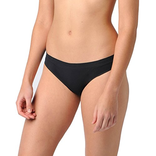 Capilene Womens Bras - Naked Womens Signature Seamless Low Rise Barely There Bikini Underwear Brief Ladies Panty - Black, Large