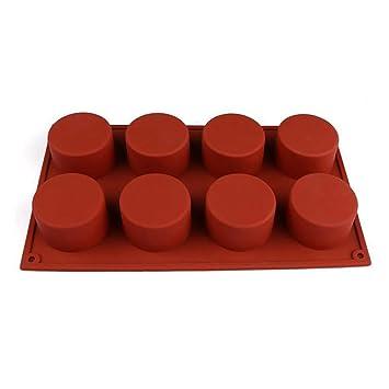 UYTSXFH - Molde de silicona con forma de cilindro con 8 agujeros para hacer pudding mousse pastel chocolate jabón DIY: Amazon.es: Hogar