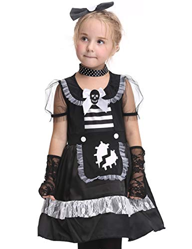 JAPANSCHOICE Dark Gothic Skull Maid Dress Scary Halloween Costume Set for Girls Age 3-9,XL(for Height of 125-135cm/49.2