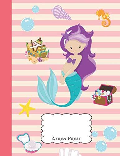 Graph Paper: Mermaid Rihanna Blank 4 x 4 Quadrille Squared Coordinate Grid Paper | Pretty Beach Sea Horse Shell Starfish Treasure Chest Pirate Pearl ... Preschool Kindergarten Primary Elementary ()
