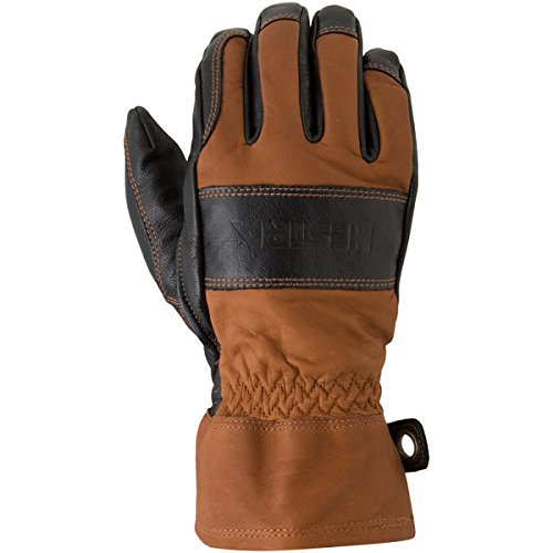 Hestra Mens and Womens Ski Gloves: Guide Leather Winter Gloves with Wool Lining, Brown/Black, 10