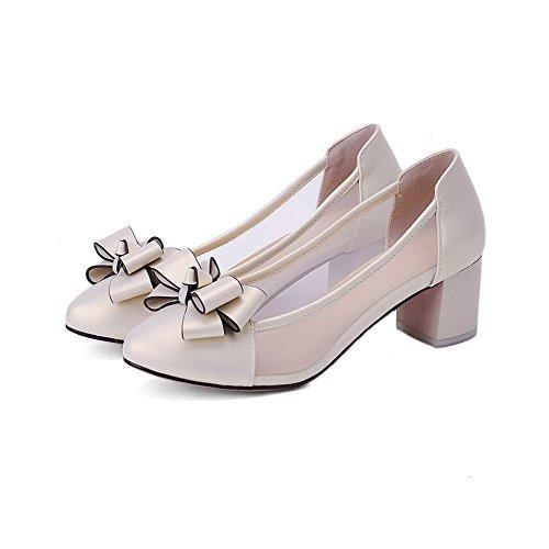 AllhqFashion Damen Rein Blend-Materialien Mittler Absatz Ziehen auf Rund Zehe Pumps Schuhe Lightgold