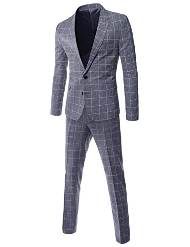 TheLees SHS449 Mens Cool Texture Checked Slim Fit 2 Button Single Suit Set Gray US XXS(Tag Size M)