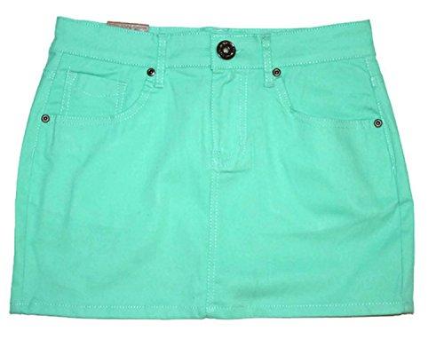 Pink Denim Mini Skirt - FGR Women's Basic Strtch Twill Mini Skirt in Bright Colors Cotton Lycra (Green, 5/6)
