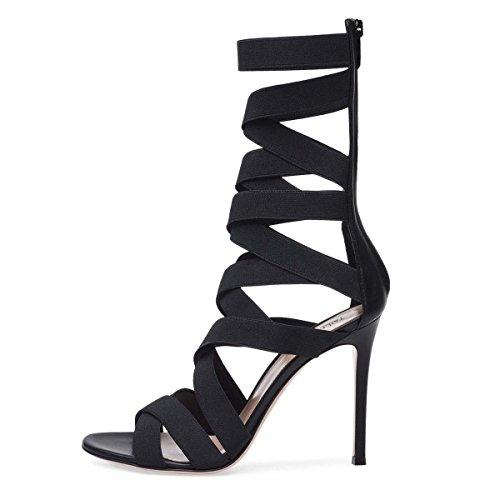 Des À Black Noire Hauts Cool Élastique Sandales De Talons GONGFF Mode Femmes Chaussures Bottes Bande Ftq4xxpT