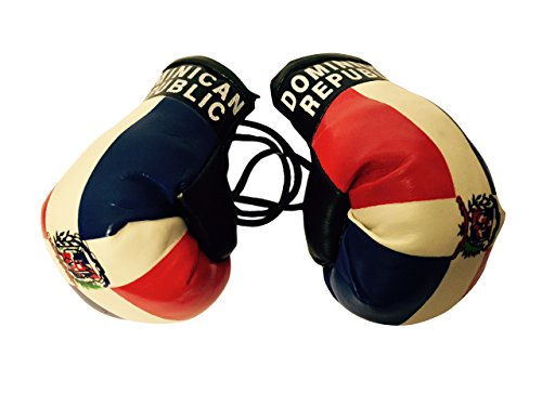 Flag Mini Small Boxing Gloves to Hang Over Car Automobile Mirror – Americas (Country: Dominican Republic) (Country Flag Republic)