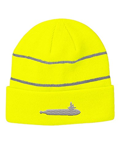 Whole Submarine Embroidery Design Acrylic Beanie Reflective Stripes Neon Yellow (Hats Submarine)