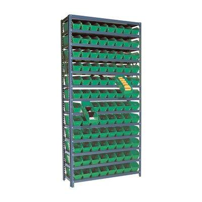 Quantum Storage 96 Bin Shelf Unit - 12in. x 36in. x 75in. Rack Size, Green
