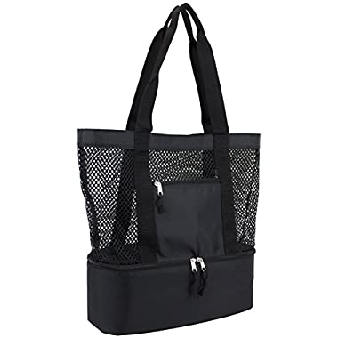 Eastsport Mesh Tote Insulated Cooler Beach Bag, Black