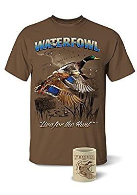 Follow The Action Waterfowl Duck T-Shirt and Koozie® Combo Gift Set