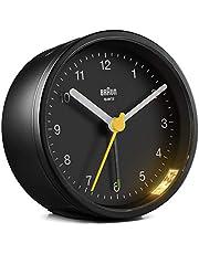 Bruin klassieke analoge wekker met sluimerfunctie en licht, rustig kwartsuurwerk, Crescendo-alarm in zwart, model BC12B
