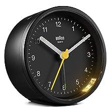Braun BC-12-B Reloj Despertador Clásico Analógico, Color Negro