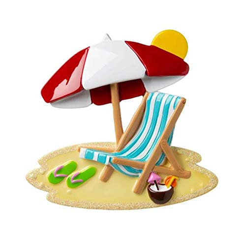 Personalized Beach Chair with Umbrella Christmas Tree Ornament 2019 - Tropic Summer-House Holiday Travel Tourist Away Flip-Flop Coconut Swim Sand South First Love Sea Gift Year - Free Customization ()