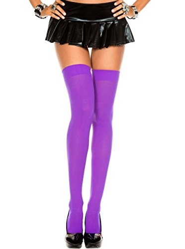 (Opaque Nylon Thigh High Stockings (One Size, Purple))