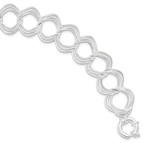 lets Link Bracelets Sterling Silver Polished and Textured Circles Link Bracelet ()