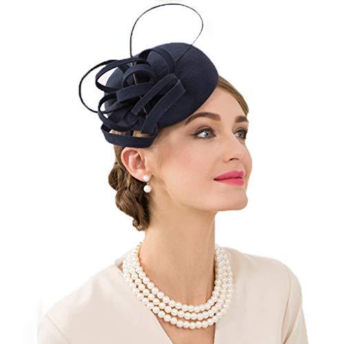 Women's Royal Pillbox Fascinator Hat Ladies Vintage Wool Fedoras Cocktail Tea Party Derby Church Head Accessory
