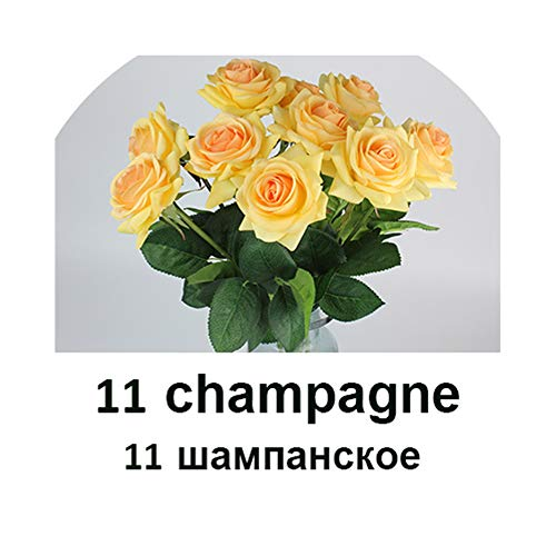 Champagne Cristal Rose - Pretty-sexy-toys 11Pieces 7.5Cm Bloom Home/Wedding Decoration Artificial Flower Bride Bouquet Latex Real Touch Rose Flowers,11 Champagne