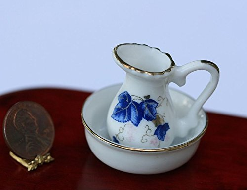 artisan hand made Dollhouse Miniature Washbasin and Pitcher with Blue & Burgundy Design ()