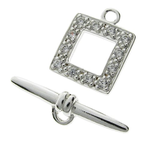 Dreambell 1 set 925 Sterling Silver Cz 12mm Rectangular Toggle Clasp Ring & Bar Connector