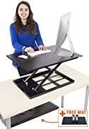 Standing Desk X-Elite - Stand Steady Standing Desk | X-Elite Pro Version, Instantly Convert Any Desk into a Sit/Stand up Desk, Height-Adjustable