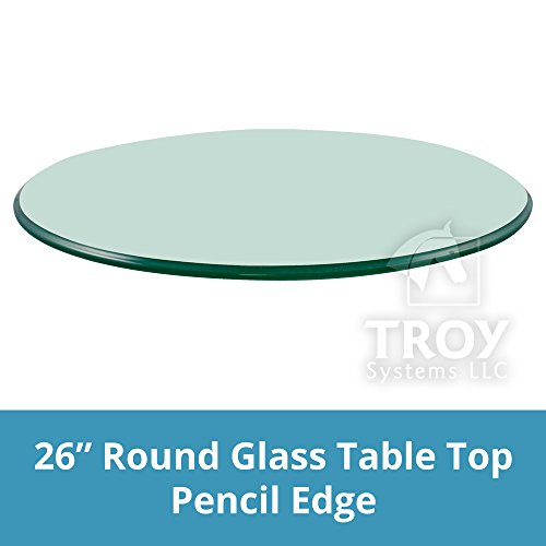 """26"""" Inch Round Glass Table Top, 3/8"""" Thick, Pencil Polish Ed"""