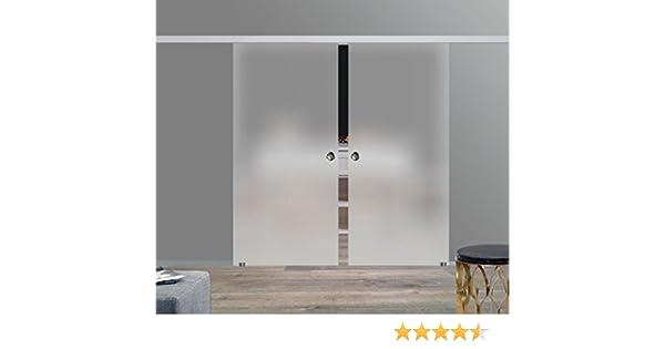 BS-900D-2-AS-DPL: sistema de puerta corredera de doble hoja ESG 2 x 900 x 2175 x 8 mm decoración S, acabado satinado; sistema de rieles de aluminio SlimLine SoftStop; tirador: Amazon.es: Bricolaje y