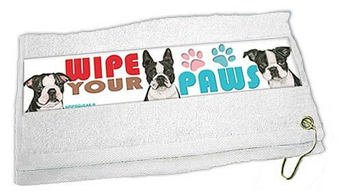 Boston Terrier Paw Wipe Towel by Pipsqueak