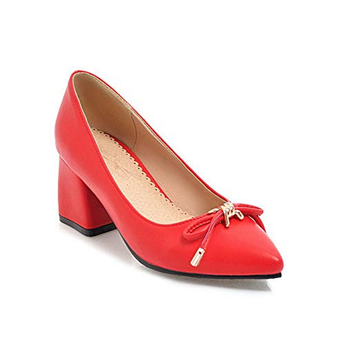 BalaMasa APL10622 Bows Comfort Shoes Urethane Womens Casual Red Solid Pumps ZxvqZgPw