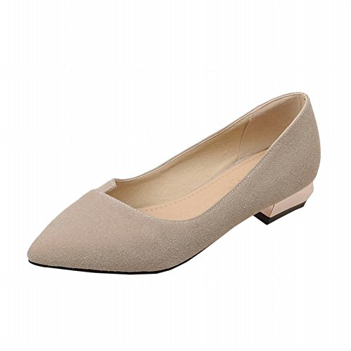 Spectacle Briller Mode Féminine Faible Talon Chunky Bout Pointu Chaussures Beige
