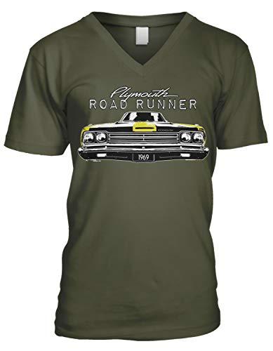 Amdesco Men's Plymouth Road Runner Officially Licensed V-Neck T-Shirt, Moss Green Small ()
