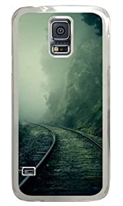 Foggy Train Tracks Forest Custom Samsung Galaxy S5 Case and Cover - Polycarbonate - Transparent
