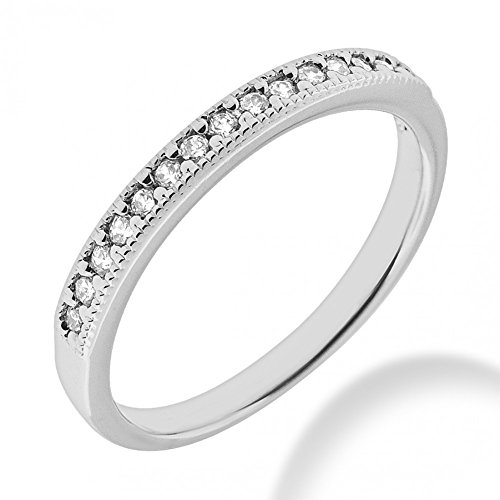 Diamond Mounting Gold (0.50 ct. Round Cut Diamond Wedding Band in Bright Cut Milgrained Mounting in 18 kt White Gold In Size 7)