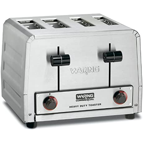 Waring Commercial WCT810 Heavy Duty Stainless Steel Bread And Bagel Combination 120 Volt Toaster With 4 Slots