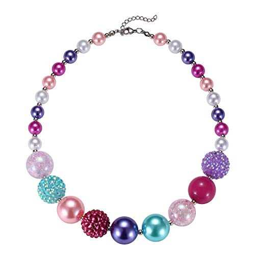 BUENAVO Chunky Bubblegum Necklace Merry Christmas Fashion Beads Necklace for Baby Girl with Gift Box - Heart Pendant Necklace Portrait